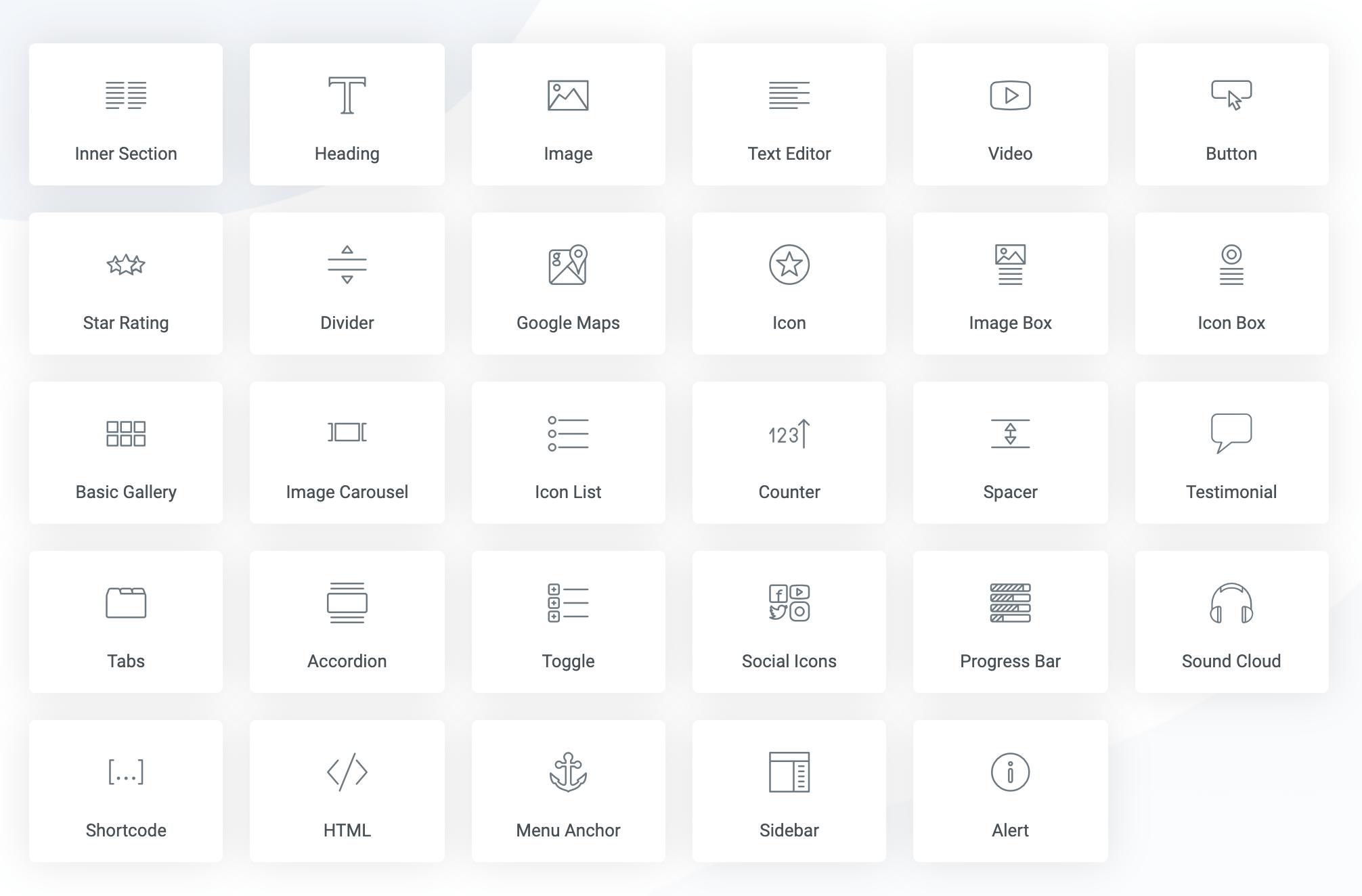Elementor icmalı: widgetlar
