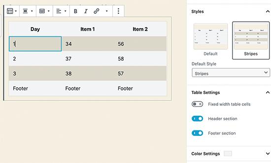 WordPress-də yeni masa bloku 5.3