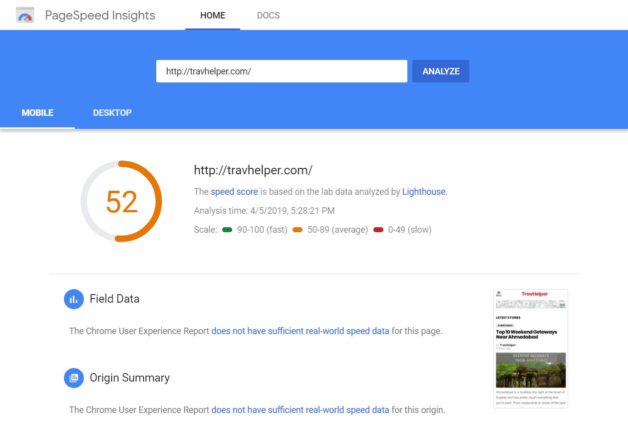 Estadísticas de Google Pagespeed