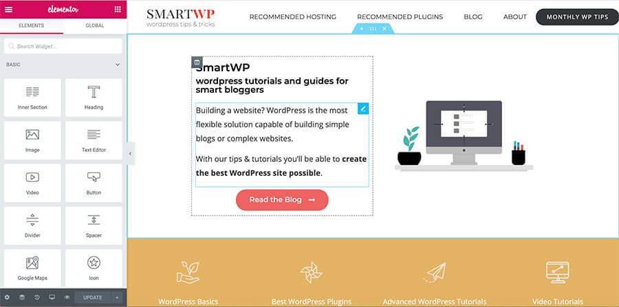 Elementos o los mejores temas de WordPress Arrastrar y soltar Ejemplo de generador de páginas
