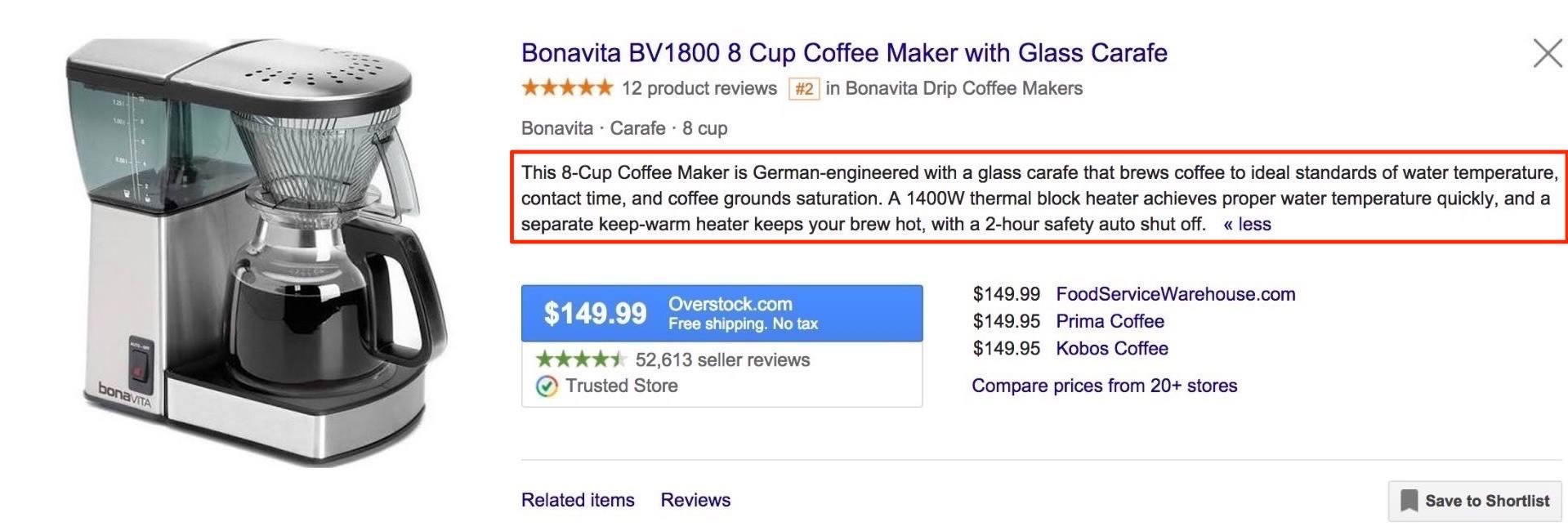 Google alış-veriş reklamı təsviri