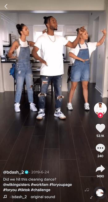 Üç kişi dans ile TikTok meydan okuma video