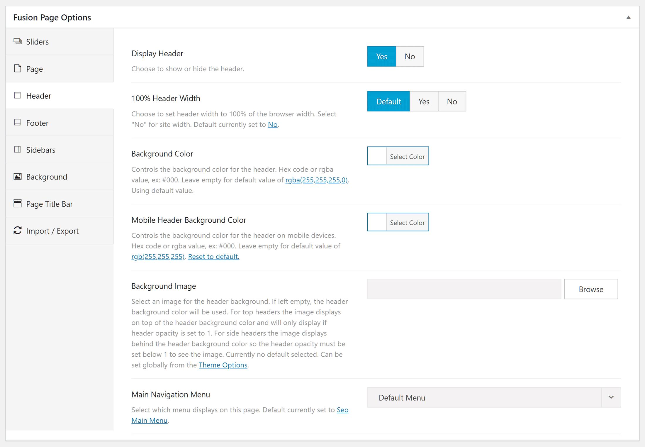 Avada tema səhifə seçimləri