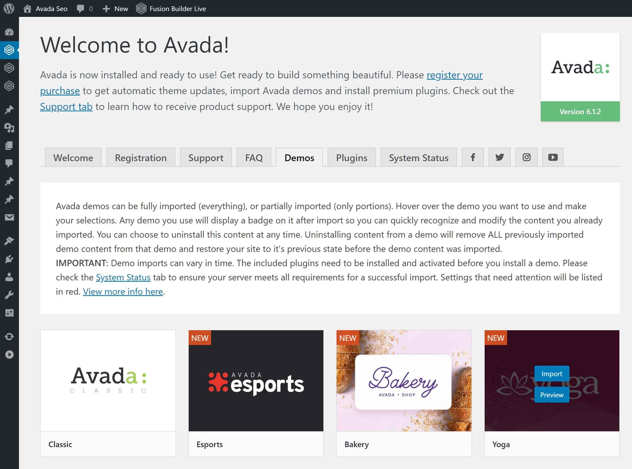 Avada tema istifadəçi interfeysi