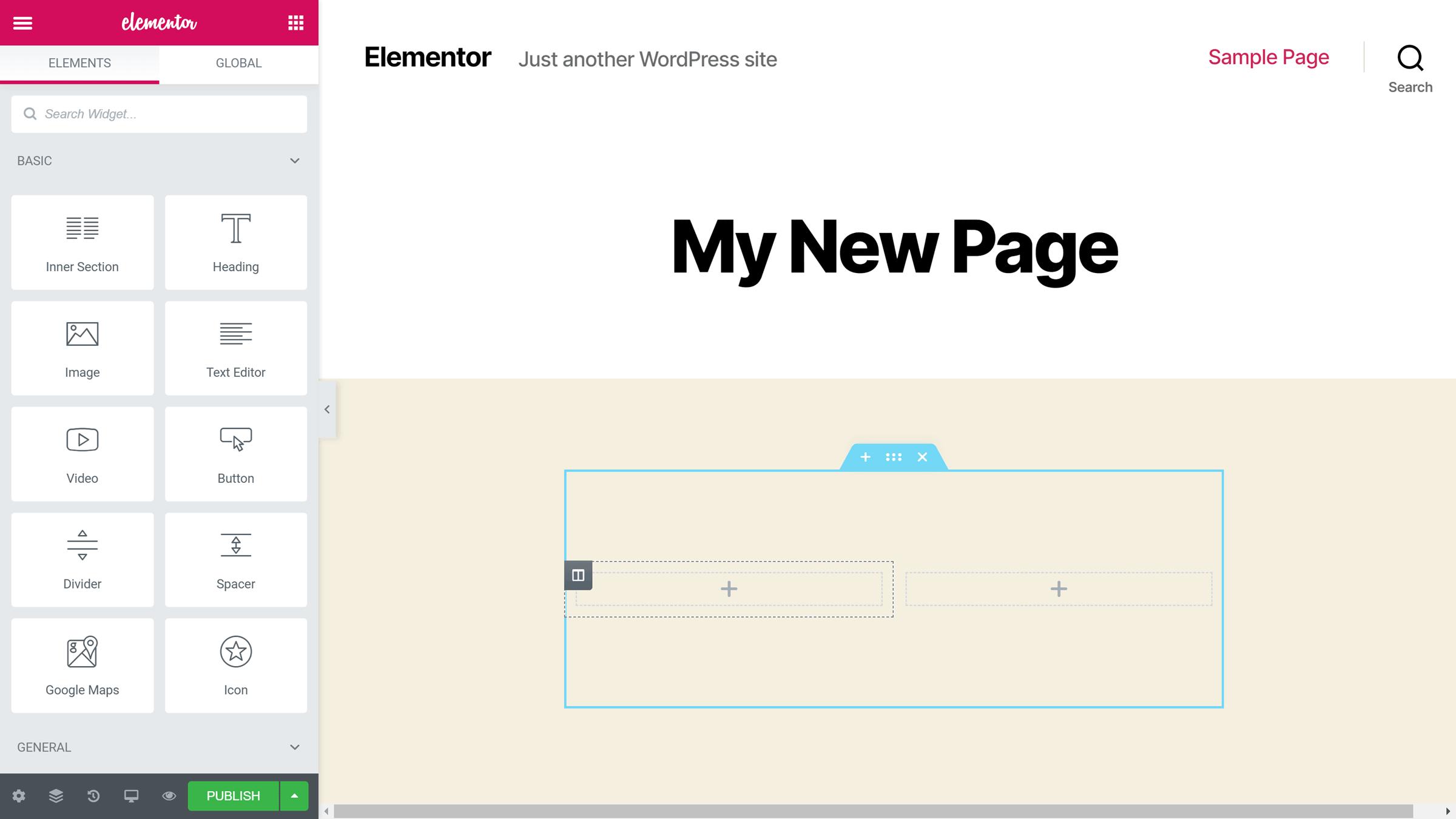 Elementor redaktoru istifadəçi interfeysi