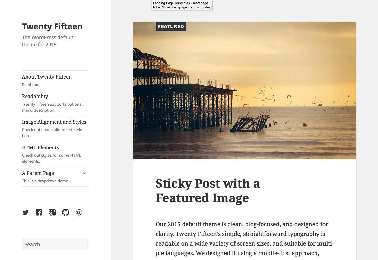 İyirmi on beş WordPress mövzusu - ekran görüntüsü