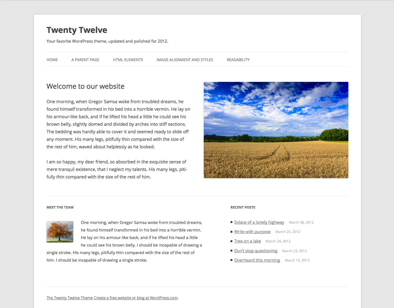 Captura de pantalla de WordPress Twenty Twelve Theme
