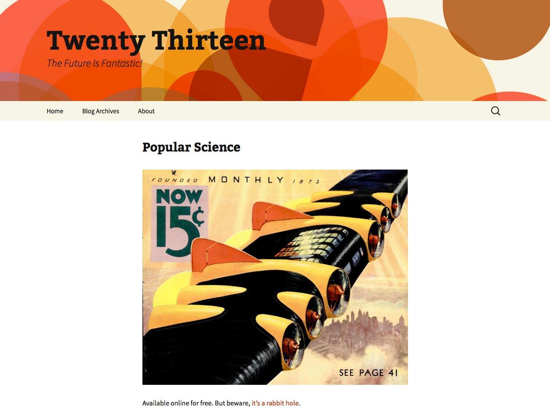 WordPress iyirmi on üçüncü mövzu - Ekran görüntüsü
