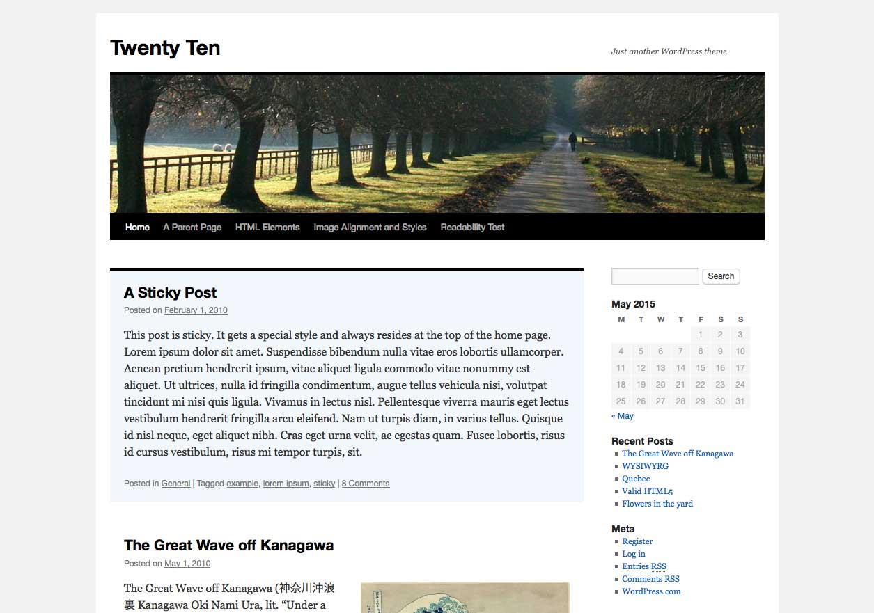WordPress Twenty Ten Theme: captura de pantalla