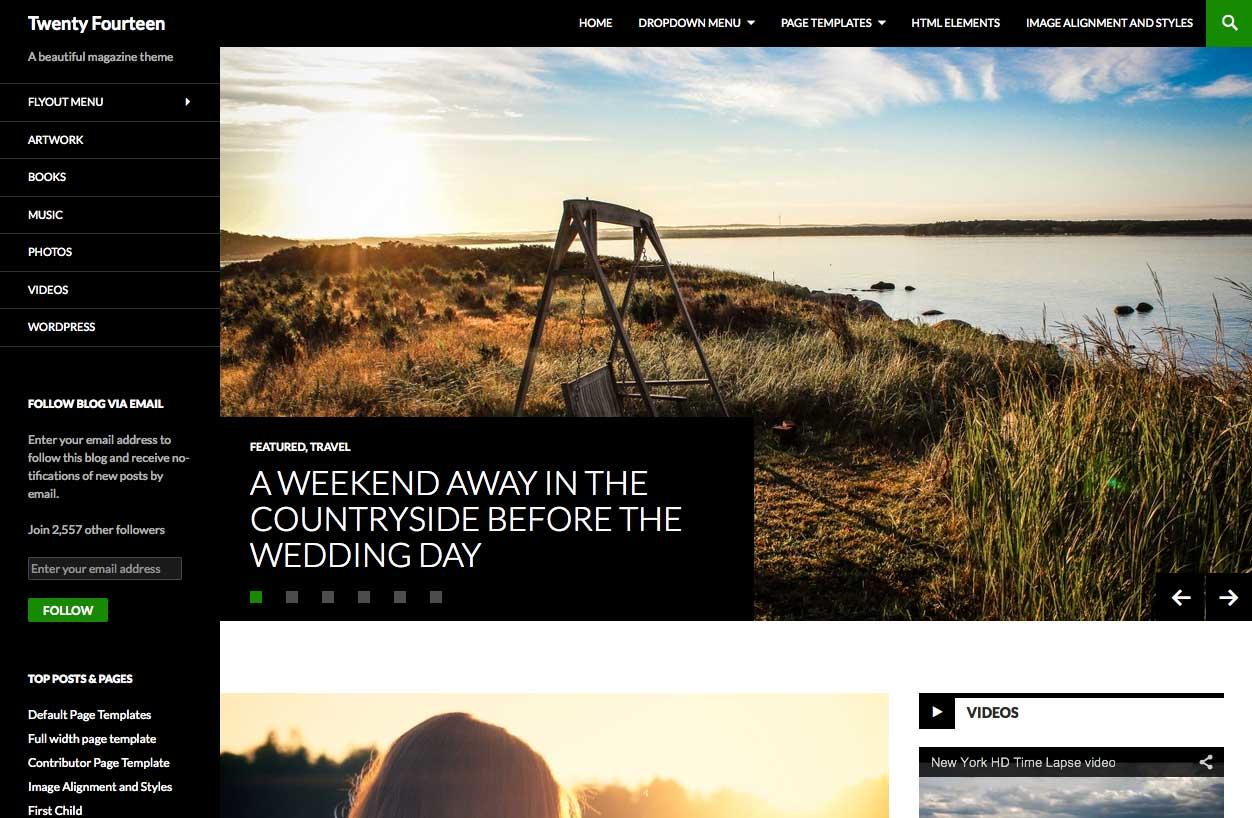 Veinticuatro temas de WordPress: captura de pantalla