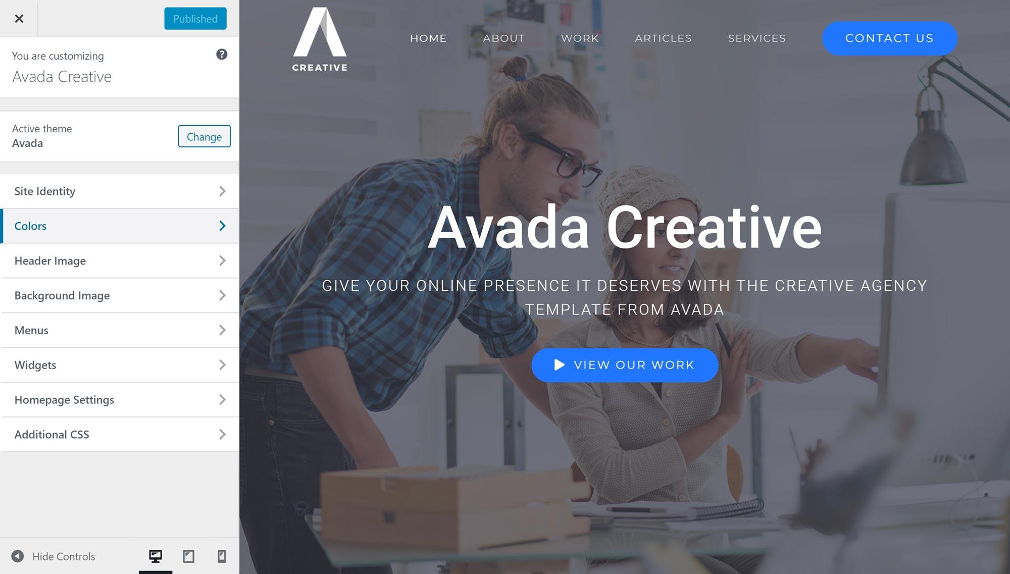 Avada WordPress xüsusi tənzimləyicisi