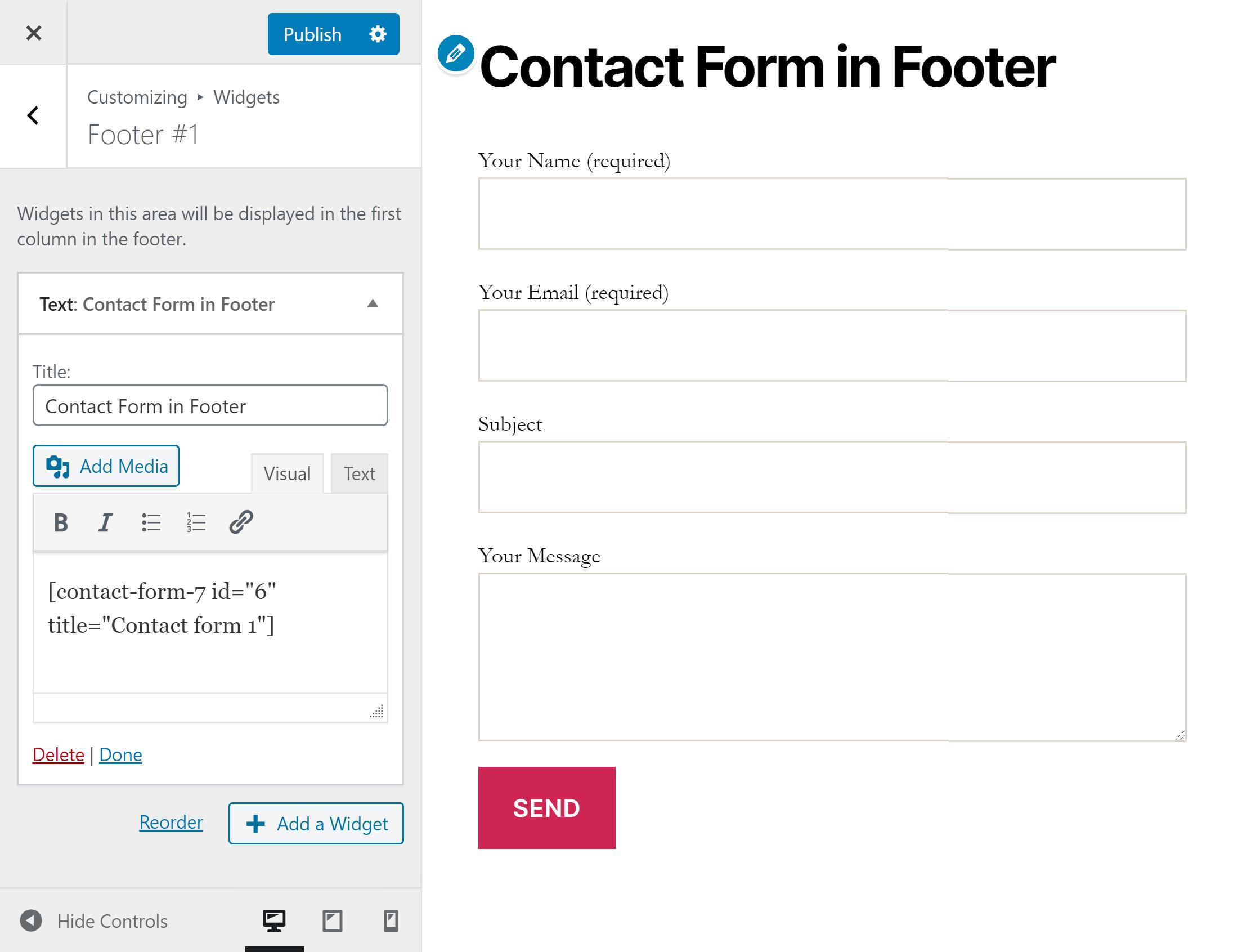 Əlaqə forması Footer widget 7