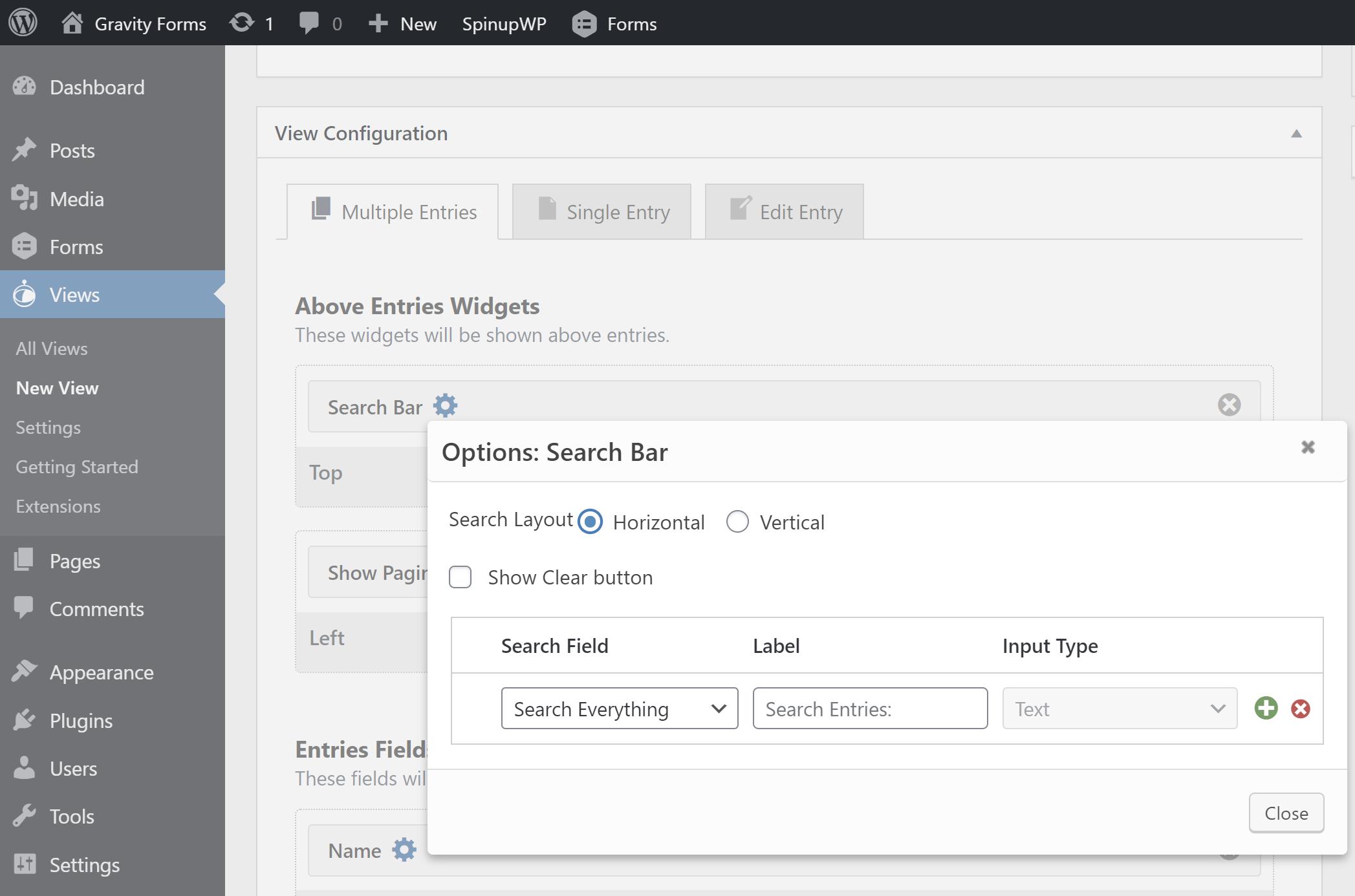 Edite la configuración para un widget GravityView