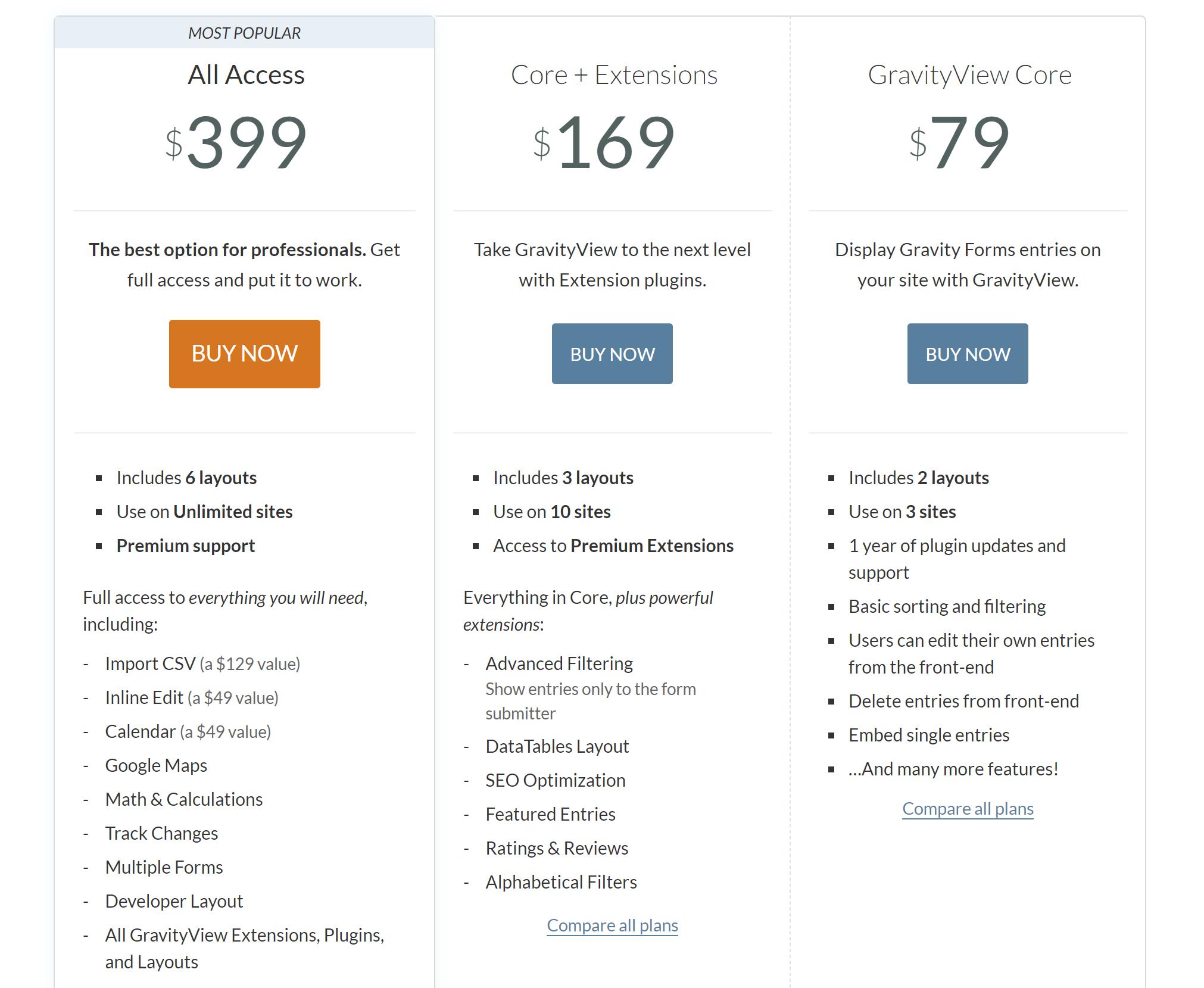 La página de precios para GravityView