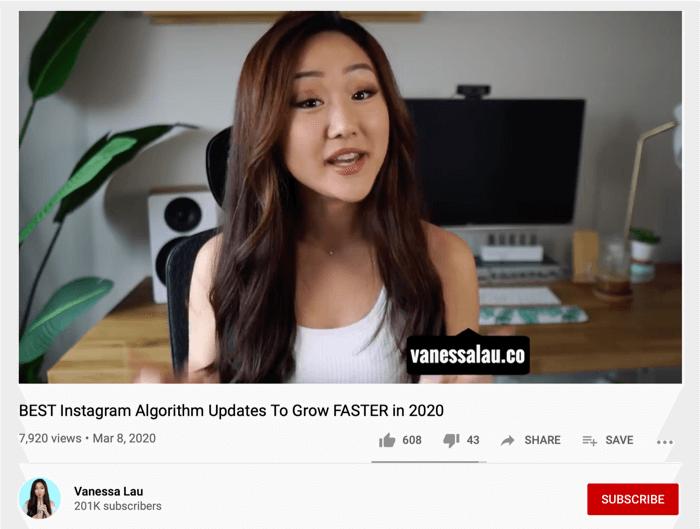 Vanessa Lau Video de YouTube chia sẻ định danh của Instagram