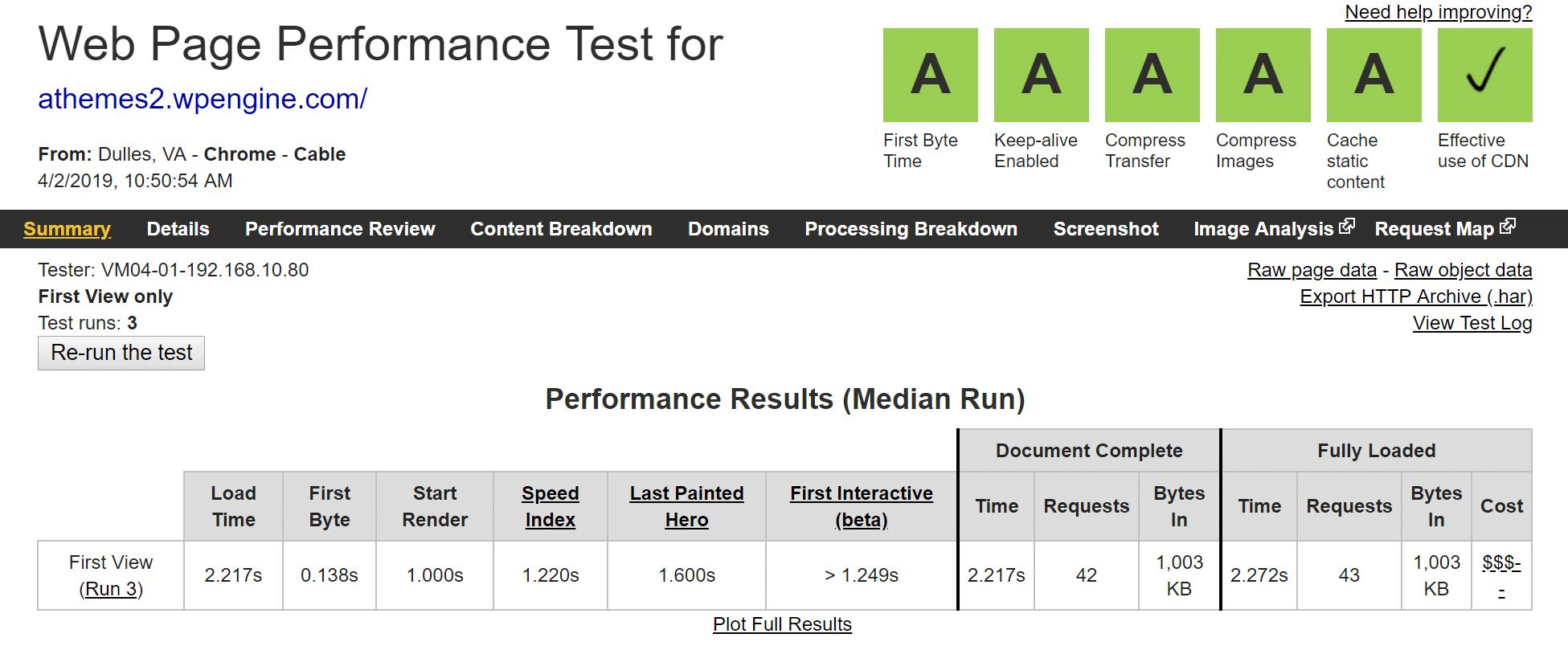 WP Engine WebPageTest