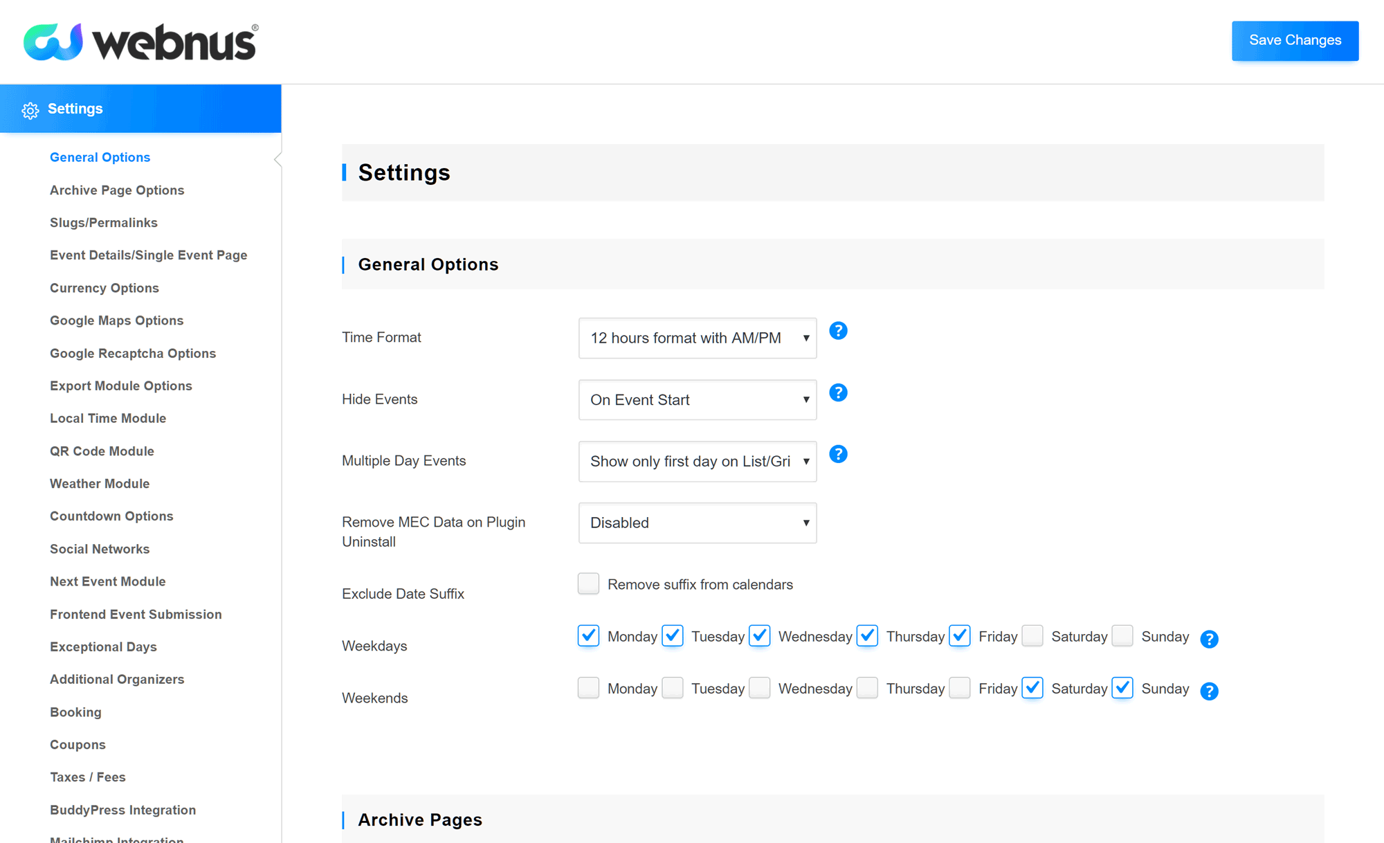 Opciones de calendario