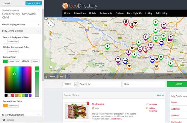 Opciones de tema de GeoDirectory