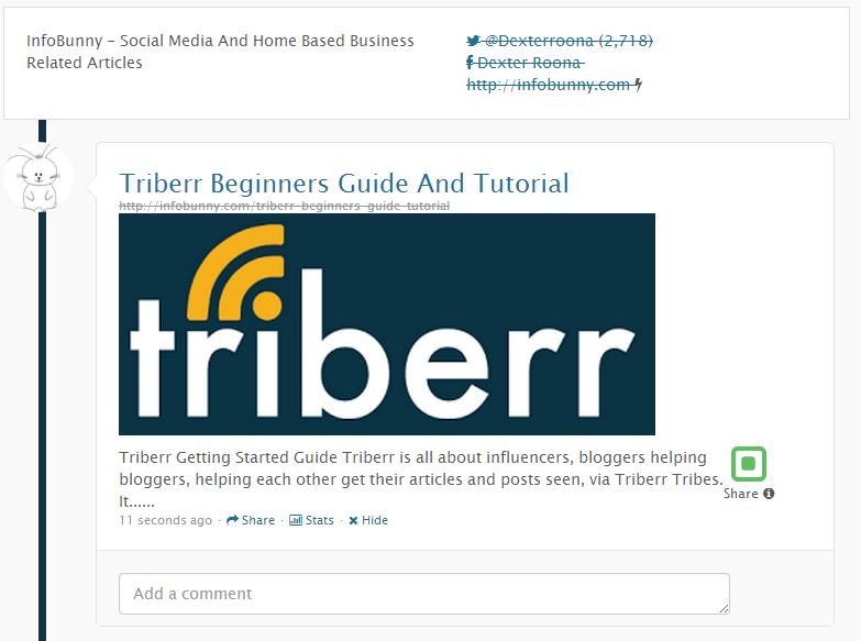 Guía para principiantes de Triberr: publicación de Triberr InfoBunny realizada por el complemento de WordPress de Triberr