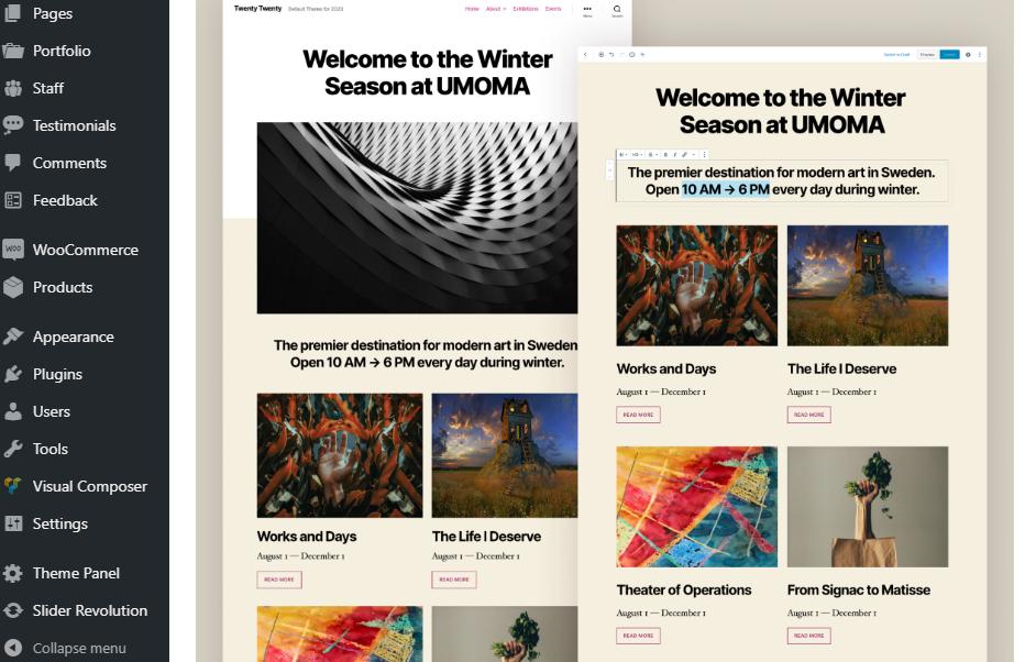 página de bienvenida de wordpress