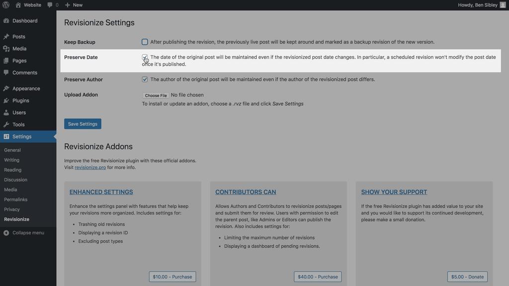 Revise la pantalla de configuración de preservación de fecha