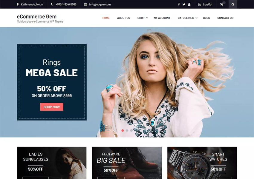 Tema multipropósito gratuito para wordpress gem wp responsive ecommerce store woocommerce