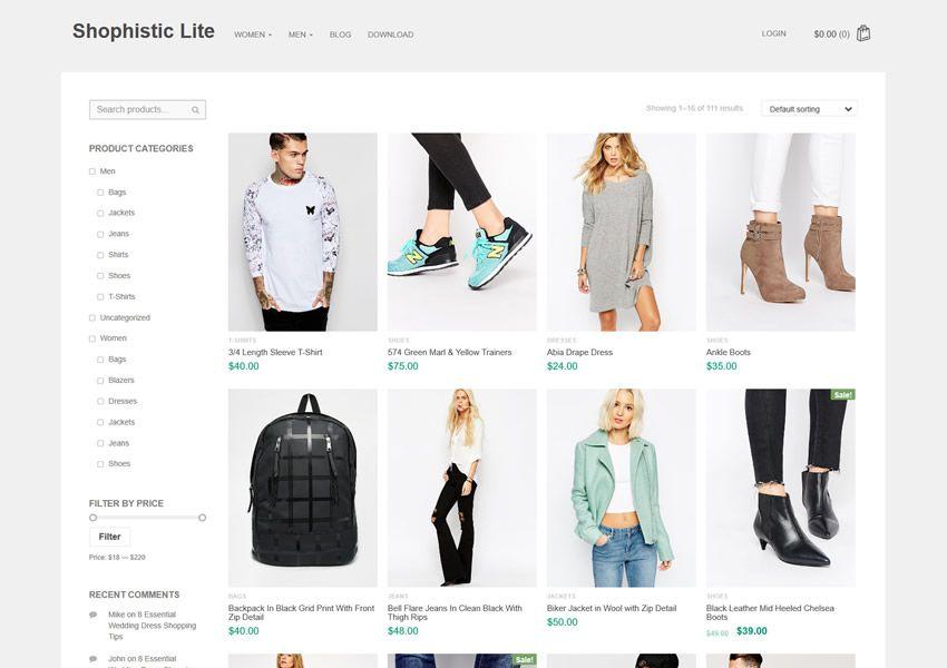 Shophistic Lite ilmainen WordPress-teema wp-reagoiva verkkokaupan verkkokauppa