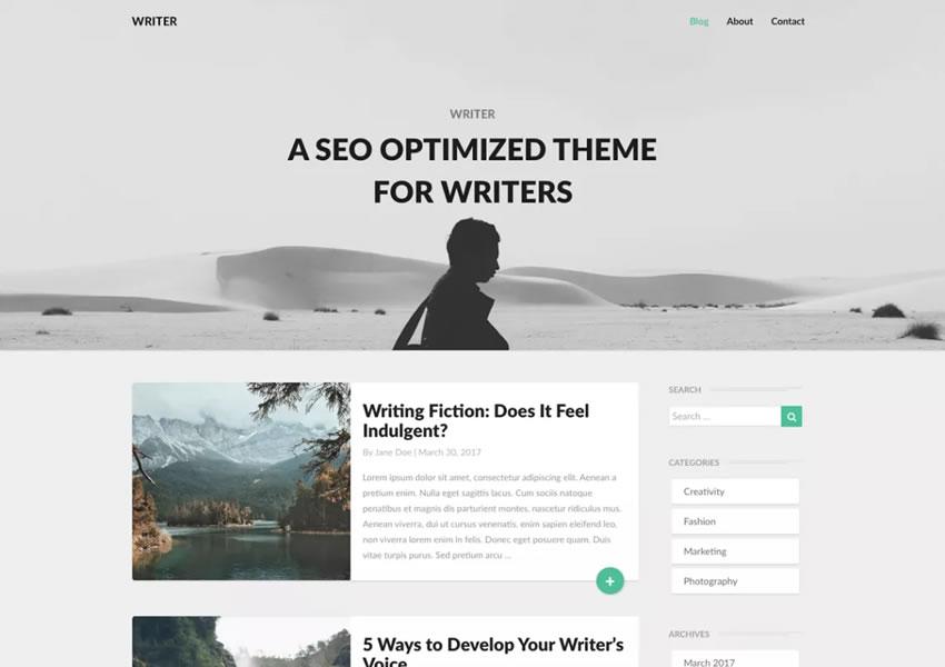 Escritores Tema minimalista moderno y gratuito para WordPress wp template responsive blogwriter artículo largo