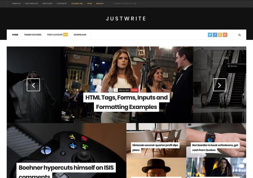 JustWrite, tema gratuito de WordPress, plantilla receptiva, escritor de blog, artículo largo