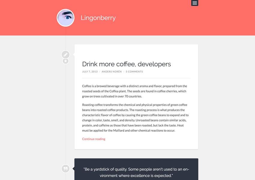 Lingonberry WordPress Theme Simple Free Wp Responsive Template Blog Writer Artículo largo