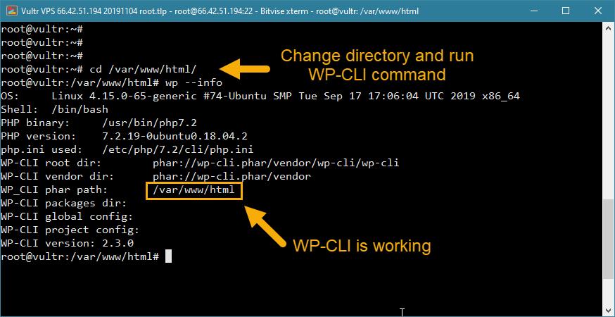 quraşdırma wp-cli quraşdırma wordpress vps işləyir