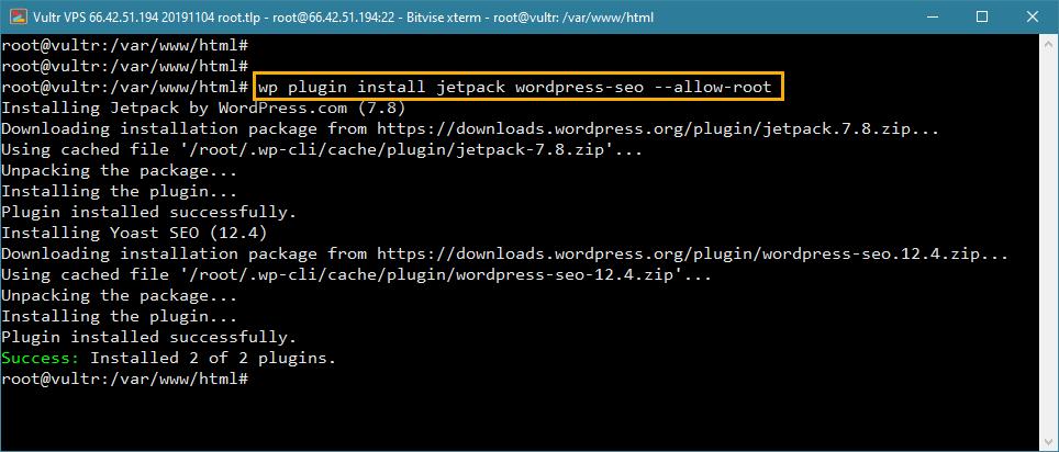 wp-cli WordPress-də bir neçə plugin quraşdırır
