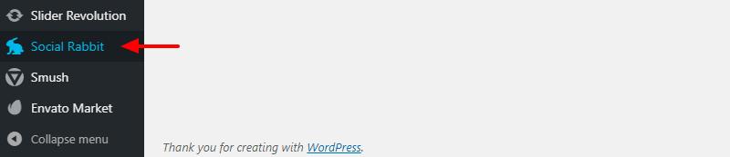 králik wordpress sociálne menu