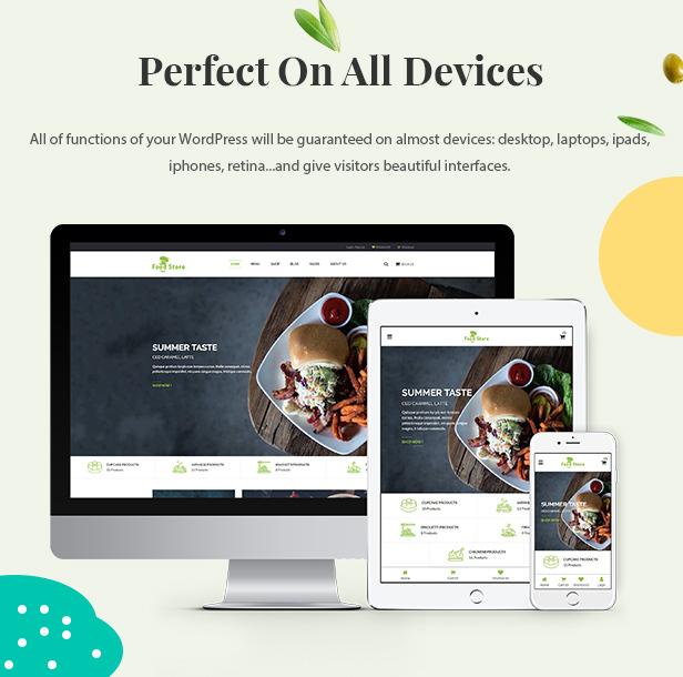 Téma WordPress s potravinami pre webové stránky o elektronickom obchode