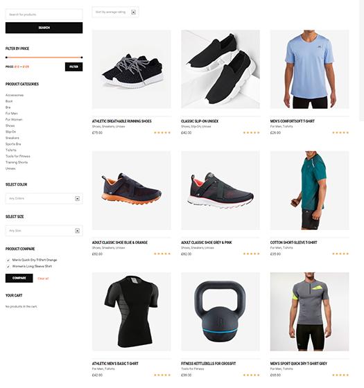 Téma WordPress pre športové obchody s webovými stránkami elektronického obchodu