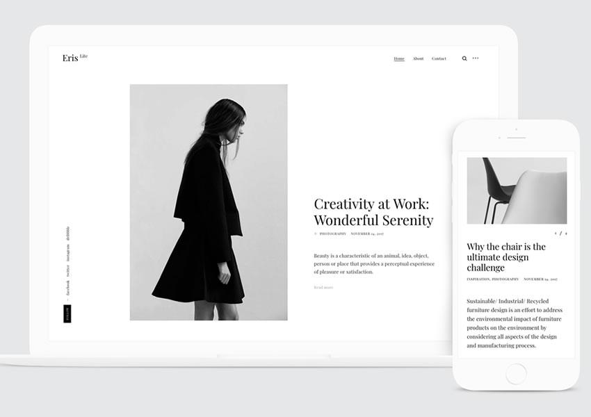 Tema gratuito WordPress ErisLite rápido wp blog responsivo design de luz minimalista minimalista