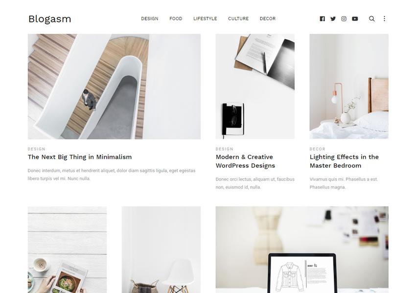 blogasm tema wordpress grátis wp blog responsivo design de luz minimalista minimalista