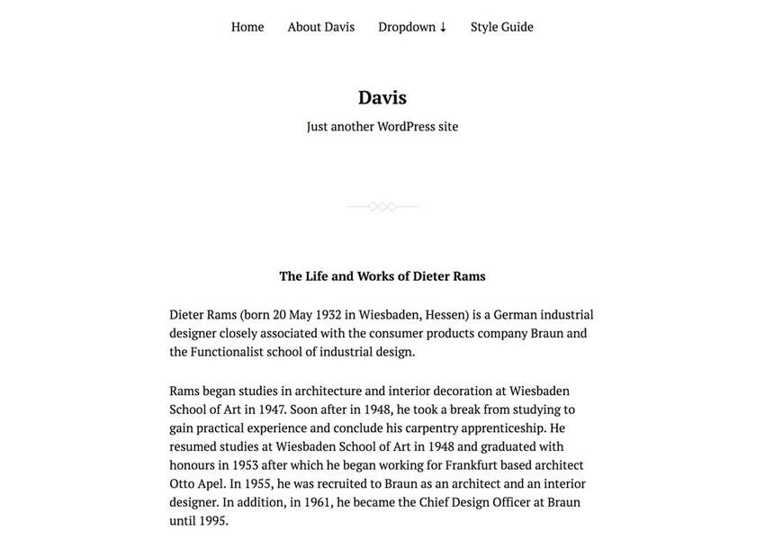 davis starter tema wordpress grátis wp blog responsivo design minimalista de luz minimalista