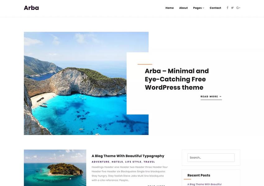 arba livre wp blog responsivo wordpress tema luz minimalista design minimalista