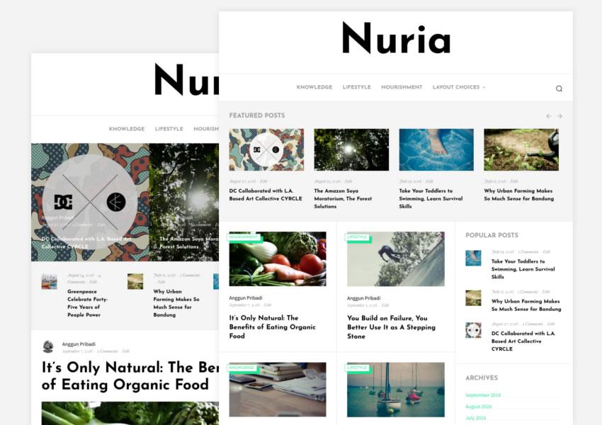 Nuria blogging tema wordpress grátis wp blog responsivo luz design minimalista minimalista