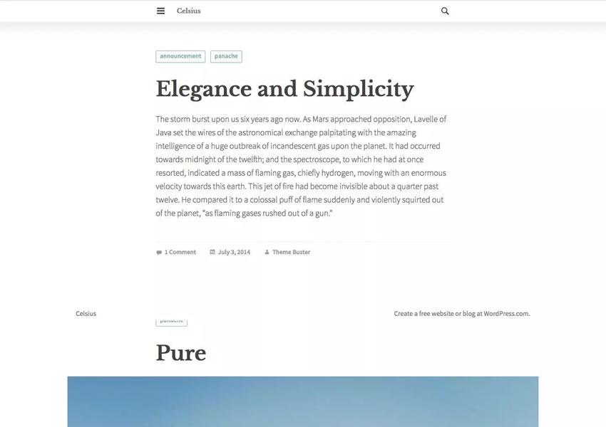 Tema WordPress grátis Celsius wp blog responsivo luz design minimalista minimalista