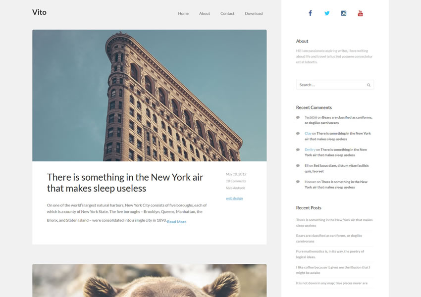 vito tema wordpress grátis limpo wp blog responsivo luz design minimalista minimalista