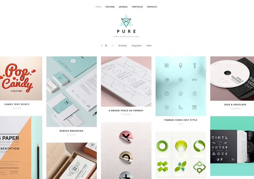 Tema WordPress gratuito puro wp blog responsivo luz design minimalista minimalista