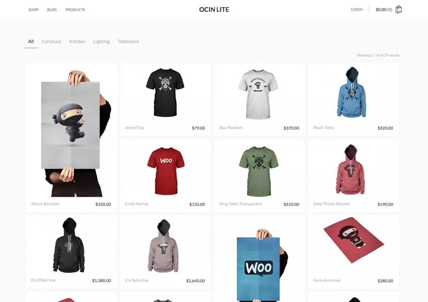 Ocin Lite WooCommerce tema wordpress grátis wp blog responsivo luz design minimalista minimalista
