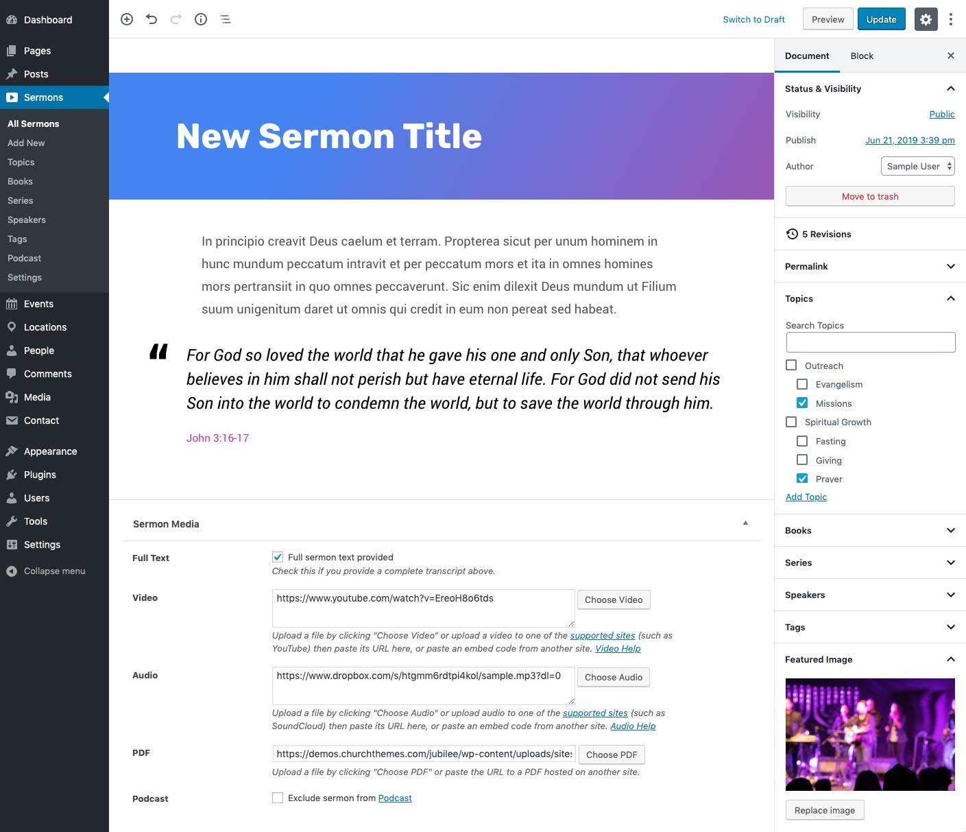 Rédacteur du sermon de l'église
