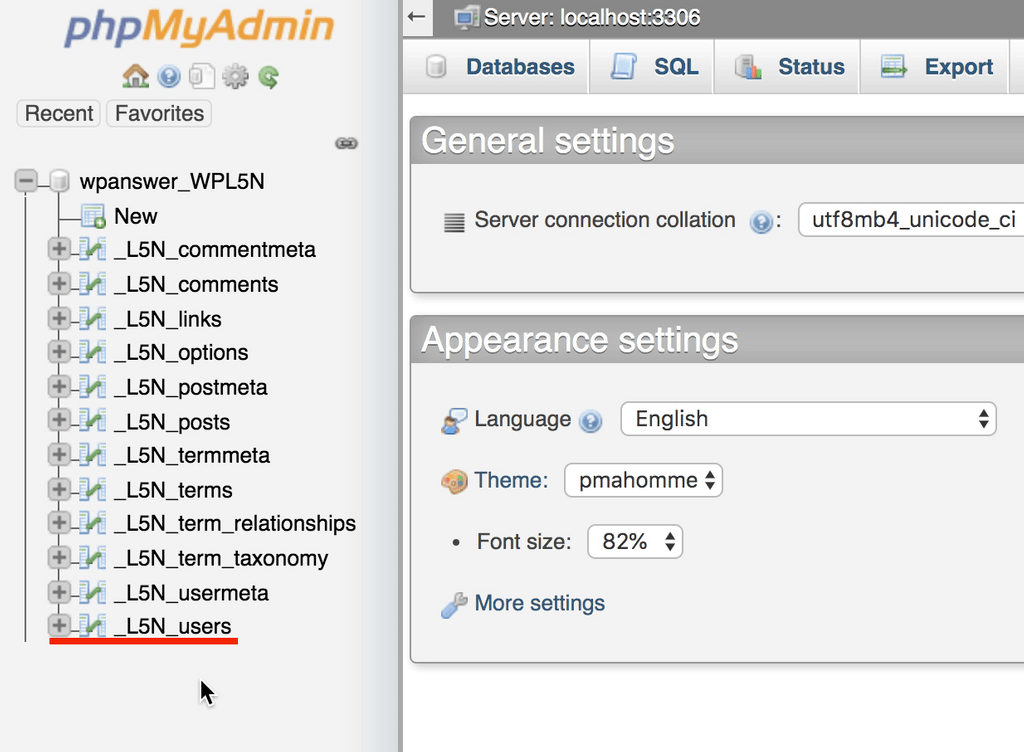 Panel de control de phpmyadmin