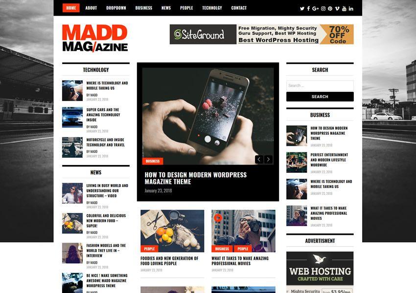 Ücretsiz madd wordpress teması wp duyarlı dergi haber blogu