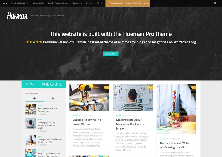 Hueman ücretsiz wordpress tema wp duyarlı dergi haber blogu