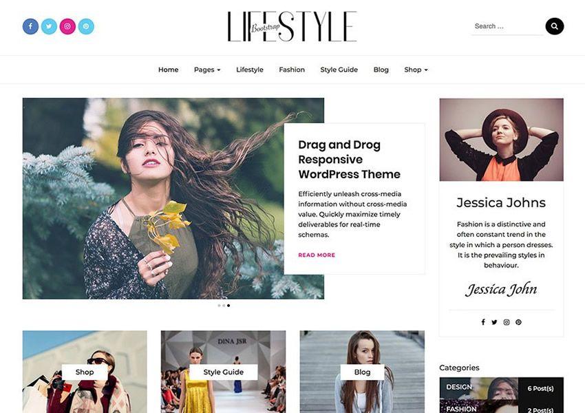 Bootstrap Yaşam Tarzı ücretsiz wordpress tema wp duyarlı dergi haber blogu
