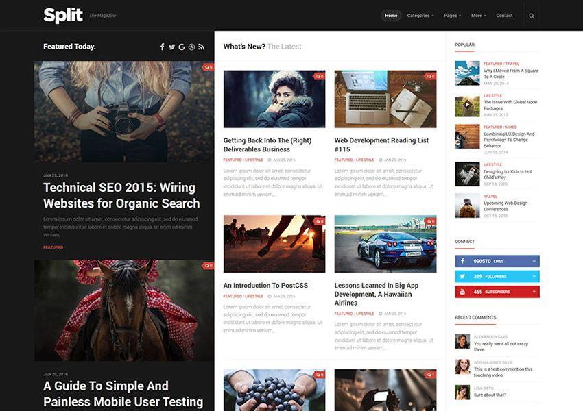 Split ücretsiz WordPress teması wp duyarlı dergi haber blogu